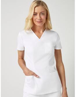 "Tunique ""Cinched V-Neck Top"" Blanc Collection Classic"